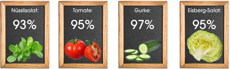Wassergehalt von Gemüsen